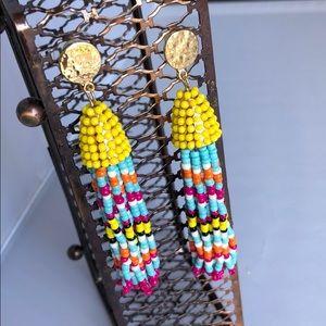 Beaded dangle multicolored earrings
